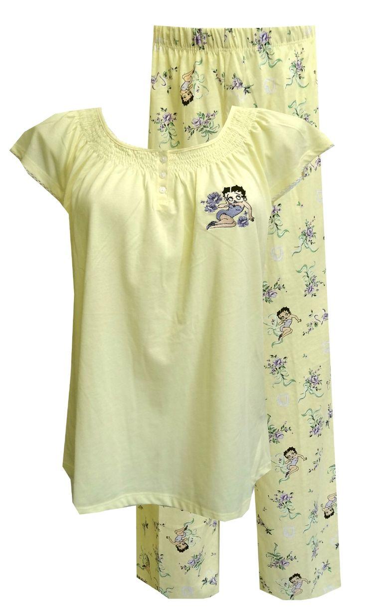 Betty Boop Yellow Floral Capri Length Pajama