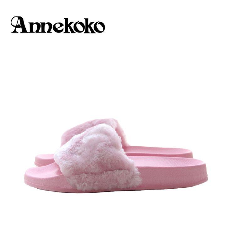 New Women Fur Slides Flip Flops Sandals Brand Plush Warm Winter Home Slippers Casual Summer Comfortable Woman Flats Beach Shoes