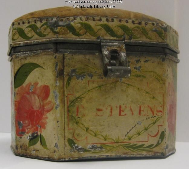 Pincushion Box Tinware, ca. 1820, Zachiariah Brackett Stevens for his daughter Emmeline,