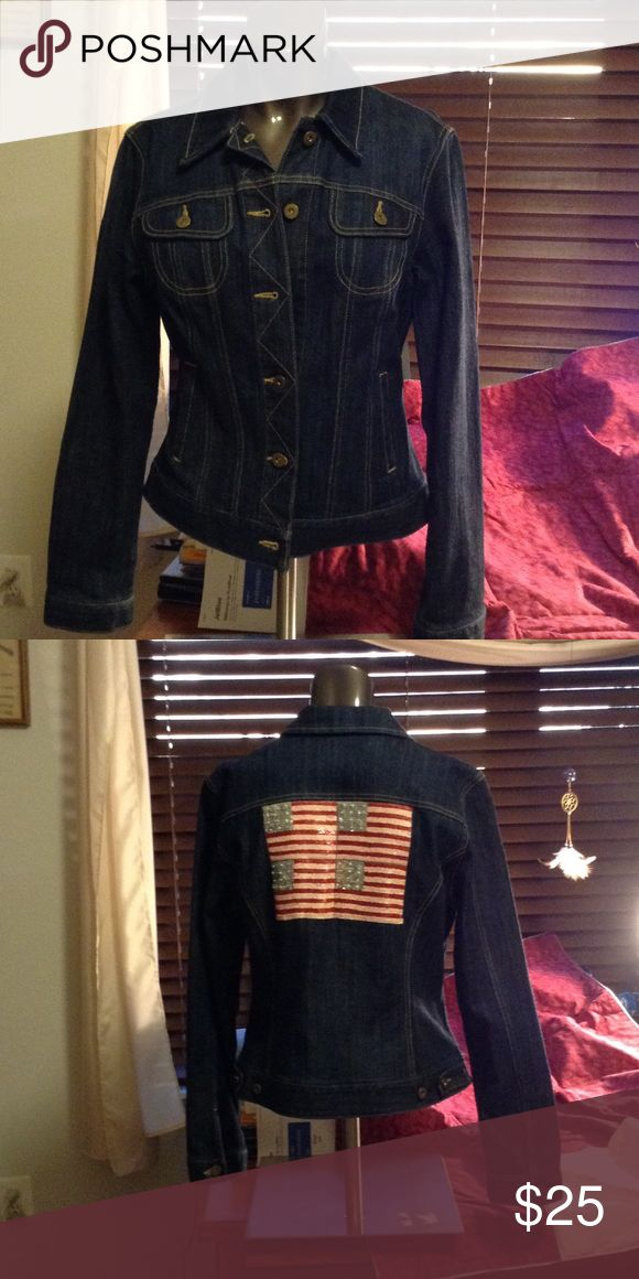 Dungaree Jean jacket by INC Dungaree Jean jacket two front pockets breast two front side pockets excellent condition never worn but tags were removed. American flag design across the back INC International Concepts Jackets & Coats Jean Jackets