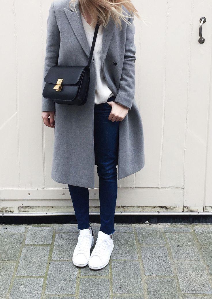 Filippa K coat, Céline box bag & stan smith sneaker. Via Mija