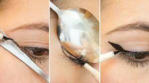 .Draw your line of eye-liner with a spoon is super simple and economical.Tracer votre trait d'eye-liner avec une cuillère c'est super simple et économique