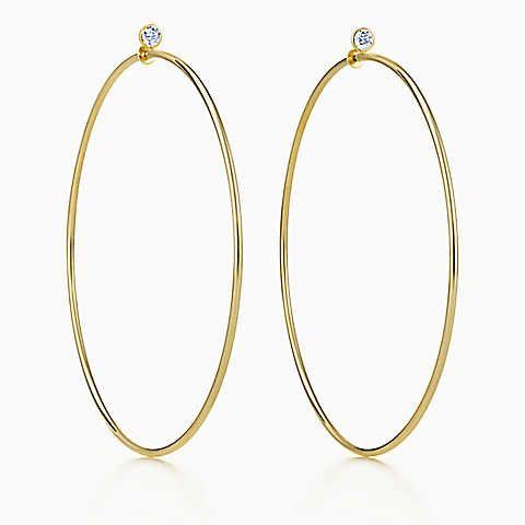 Elsa Peretti® Diamond Hoop earrings in 18k gold with diamonds, large.