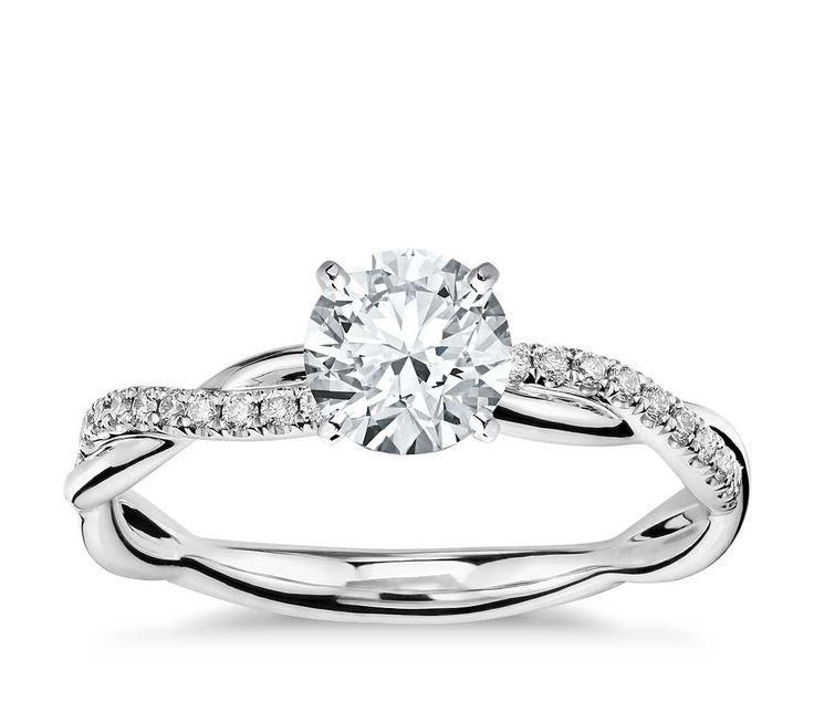 Petite Twist Diamond Engagement Ring in 14k White Gold (1/10 ct. tw.)   Blue Nile