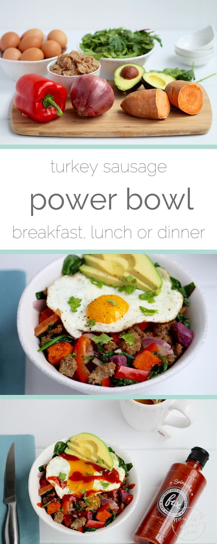this power bowl is packed with nutritional superstars like sweet potato, avocado, turkey sausage, greens, and eggs. talk about a healthy, well-balanced bowl, rich in iron and fiber. not to mention savory and satisfying as it's protein-packed {turkey sausage and eggs} and topped with with healthy fats {avocado}.
