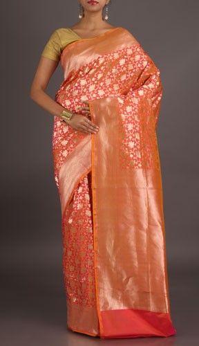 Druti Peach With Full Fine Ornate Real Zari Banarasi Brocade Silk Saree