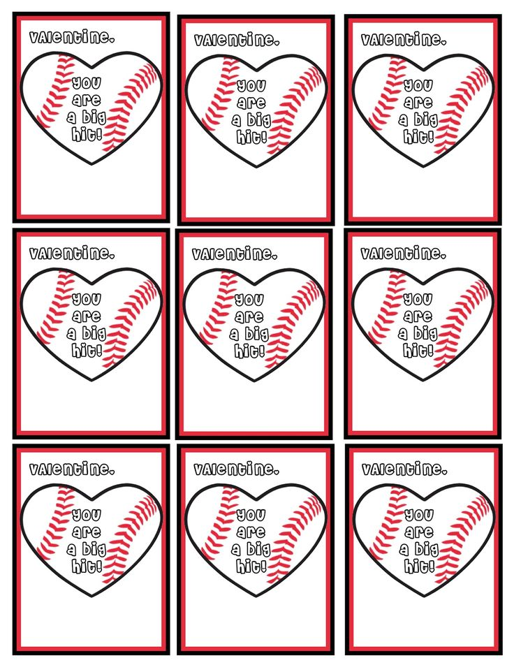 You are a big hit Baseball Valentines Free Printables!