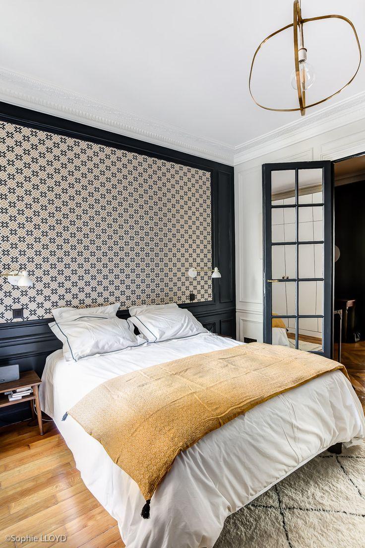 Chambre parentale d'un bel appartement parisien de 180 m2. Rénovation par l…