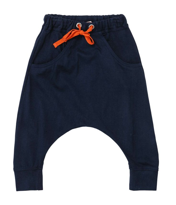Designer baby clothing - Baobab Navy Relaxed Pant - $37.95 - Doing comfort in style!  Baggy, unisex baby harem pants in navy - made from soft organic cotton and finished with fitted cuffs, navy back pocket and contrasting orange drawstring. Pair with a raglan tee for an outfit that is big on comfort and big with style! Designer baby clothing - Baobab