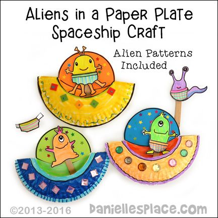 "Aliens in a Paper Plate Space Craft. Use this space ship and alien stick puppets with the children's book ""Aliens Love Underpants""."