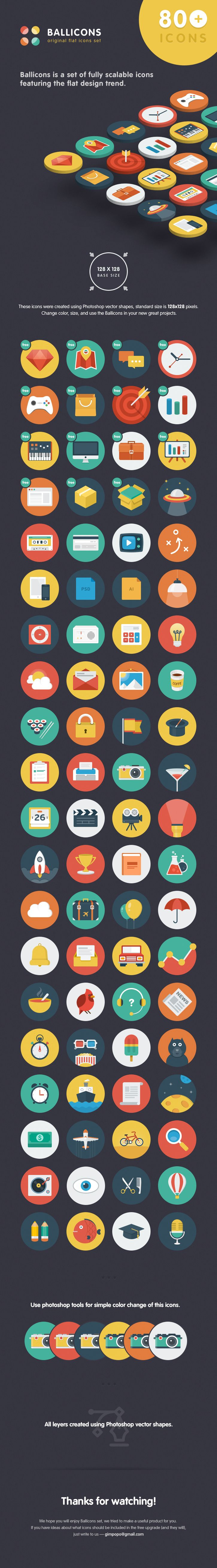 Ballicons - original flat icons set by Gimpo Studio (Nick & Oksana)