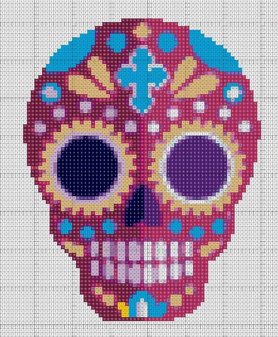 Cross Stitch Pattern Mexican Halloween Sugar Skulls // Instant PDF Download  The pattern comes as a PDF file that youll will be able to download immediately after purchase. Pattern PDF includes: - A pattern chart with coloured blocks and symbols spread across several pages for easy reading - List of thread colors and sizes.  Pattern Information: Designed for 18 count white Aida, but will work for any count or colour. Size: 25 cm x 32 cm (9`x12`) for 18 count. Types of stit...