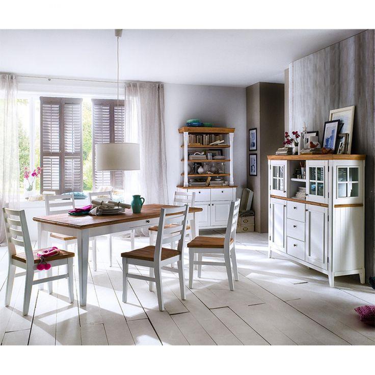 Chaise de salle à manger Macy (lot de 2) - Acacia massif - Blanc