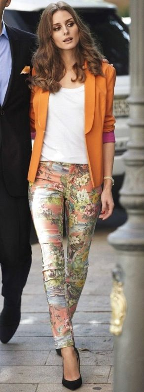 Olivia Palermo- orange blazer + printed pants + white tank