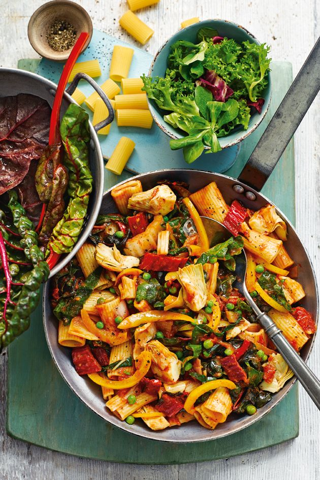 These big rigatoni tubes go fantastically with this veggie feast!