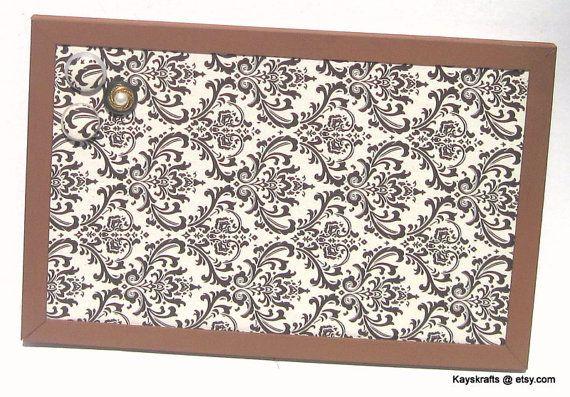Brown Damask Framed Corkboard Bulletin Board on Esty by kayskrafts, $43.99