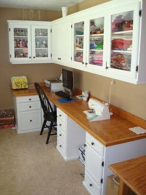 Nice craft room.  Mine is in far depths of basement where no one sees it.  This would be nice - but worth the money or just go w/ open board shelves?  I can actually store more on open shelves - just not pretty.