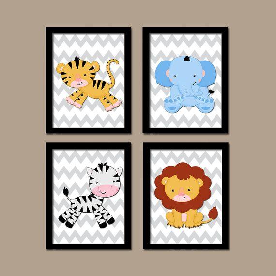 Jungle Safari Animal Lion Zebra Elephant Tiger Theme Boy Girl Grey Chevron Pattern Set of 4 Prints WALL Baby Decor ART Child NURSERY Bedroom...