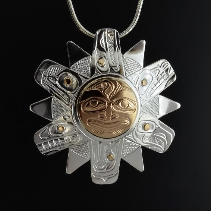 Sun - Silver Pendant with 14k Gold Overlay