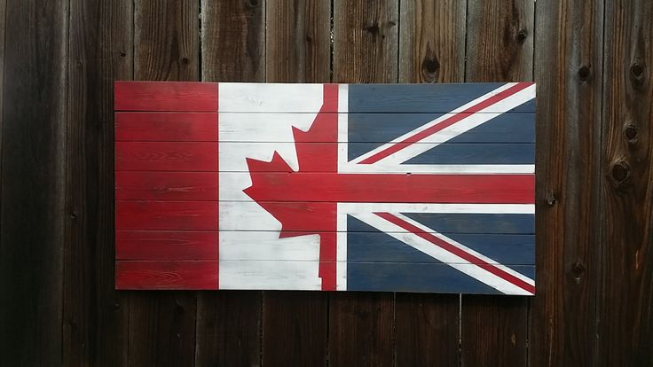 *ALL PRICES INCLUDE SHIPPING  This beautiful half Canadian and half Union Jack flag wall art piece is handcrafted from high quality wood (not pallet wood) and painted with a distressed finish to create an aged, vintage look. The wood used to construct this piece is heavily knotted and slightly warped to add the aged, rustic feel. The design is quite stunning in person and the colors make for a great visual centerpiece. Every piece is unique. There will be slight variation with the item you…