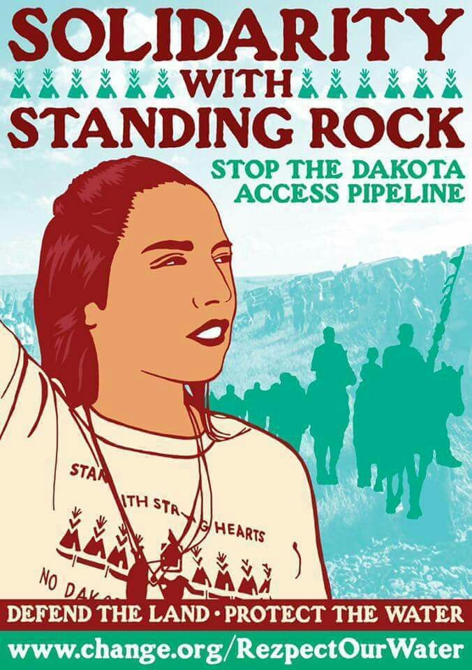 No Dakota access pipeline. The reality around this situation is so fucked up: media blackout, politicians turning a blind eye (aside from Stein), police spraying peaceful protestors with gas and threatening them with riot gear. Water is life. Period.