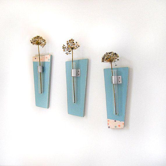 SKY modern flower vase wood wall mount retro teal by PIGandFiSH, $75.00
