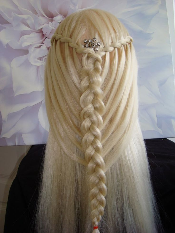 Feather waterfall twists into mermaid braid hair for Waterfall style