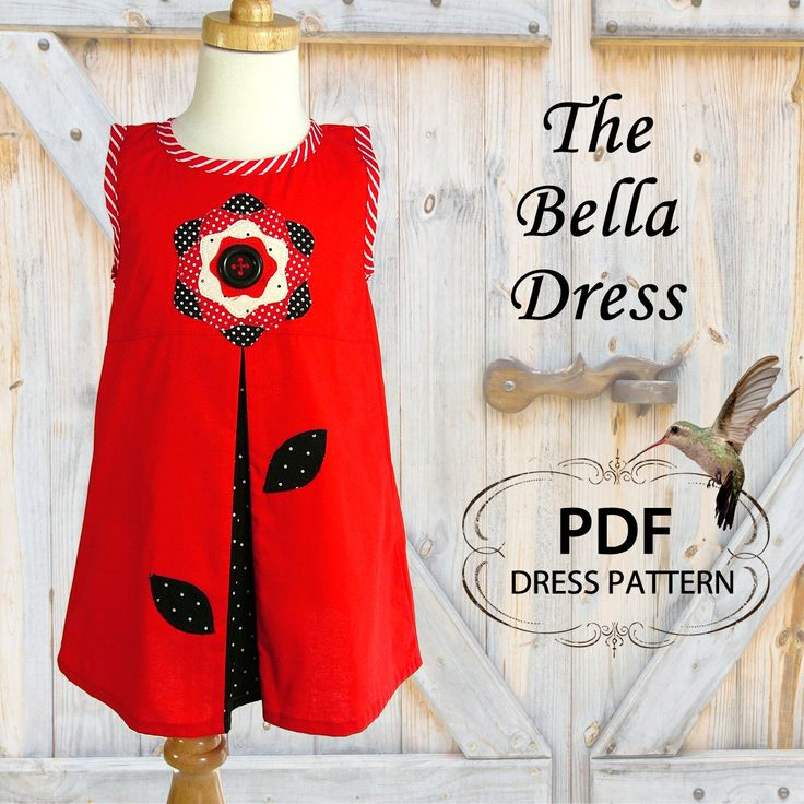 Girls dress pattern, Instant Download, PDF sewing pattern, Girls pattern, Children s pattern, PDF pattern,  The Bella Dress, Sizes 2 to 8. $6.95, via Etsy.