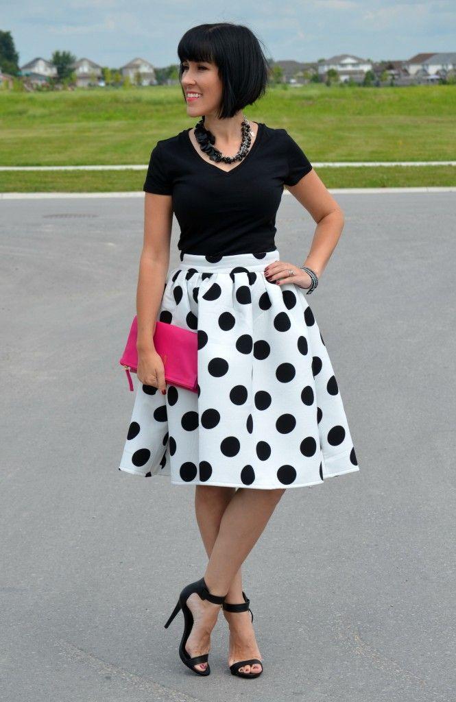 Polka Dot Midi Skirt, Midi Skirt, Dress, Sheinside, joe fresh tee, polka dot skirt, high heels, black sandles, black tee
