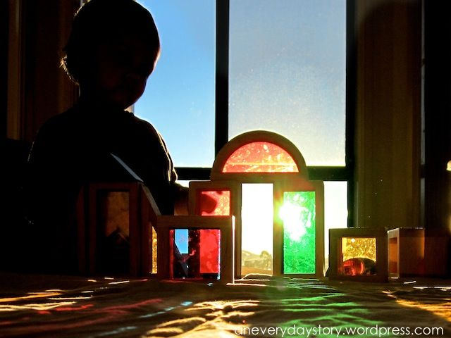 exploring natural light with window blocks- who needs a light table when you have the sun!