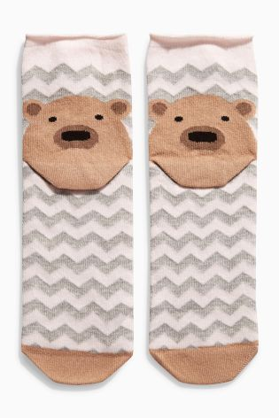 Набор из четырех пар носков овсяного цвета со звериной мордашкой на пятке - Покупайте прямо сейчас на сайте Next: Россия