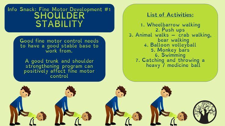 Big Tree Therapy Info Snack : Fine Motor Development #1  Shoulder Stability