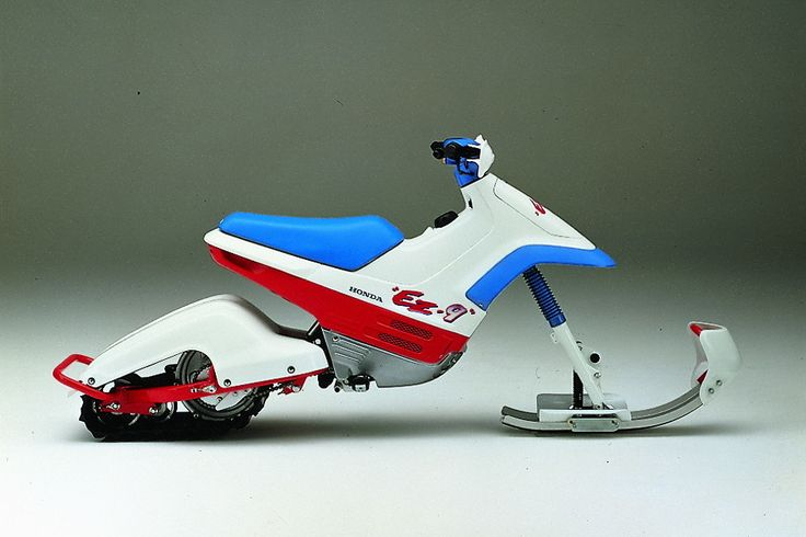 Honda EZ Cub 90 converts from a two wheeled scooter to a snow bike