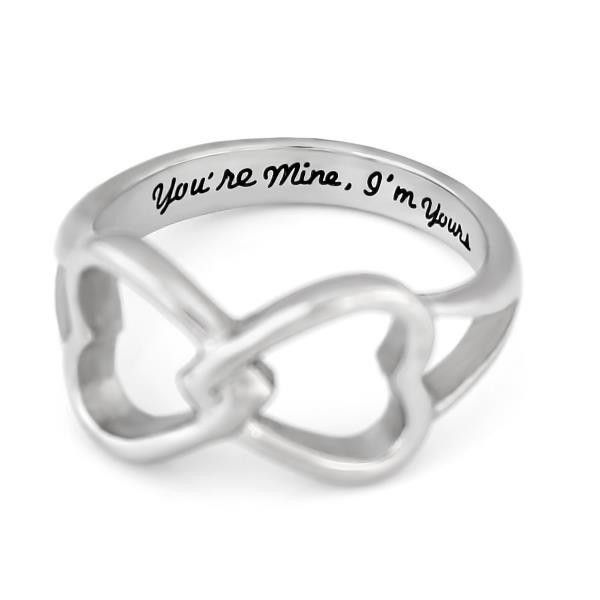 "Couples Ring Double Hearts Infinity Ring Promise Ring Wedding Ring This Infinity Ring presents two hearts connected with each other. Such a sweet design symbolizes special connection between two lovers. The Ring is engraved on inside with a touching message ""You're Mine, I'm Yours"". #couples #ring #love #rings"
