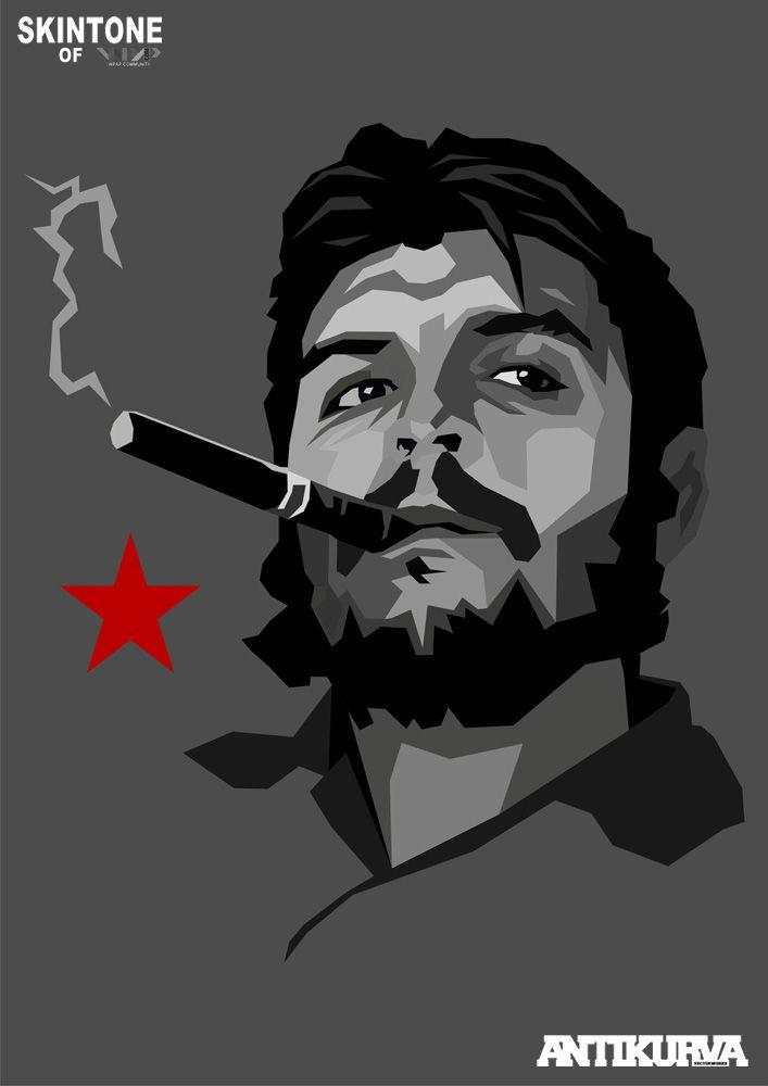 Ernesto Che Guevara (1928 Jun14 - 1967 Oct9, d. @39 of execution) • graphic art: poster portrait by Lynch De La Serna •Argentine Marxist humanist revolutionary in Cuban Revolution (later Algiers, Congo, Bolivia) + physician, author, guerrilla leader, diplomat, military theorist...symbol of ubiquitous countercultural