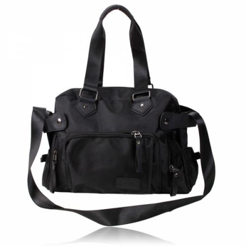 Casual Zipper    Closure Bag    This bag is made of canvas material can be used as a handbag, shoulder bag or a messenger bag. It carries 7 pockets and comes in black.