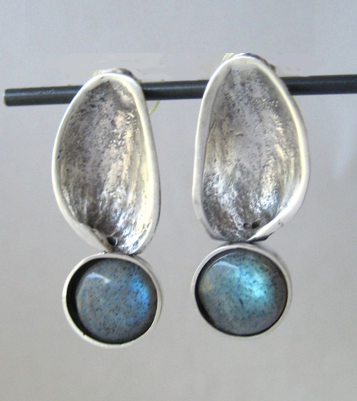 Silver and Labradorite Earrings by Anna Vosburg Design