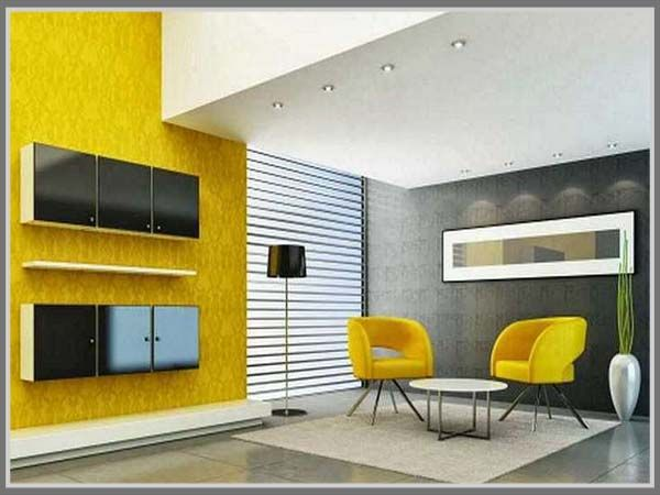 Pair A Bright Color Like Yellow With Neutral One To Create Balance House Interior Design The Room Looks Fun Yet Comfortable And Spacious