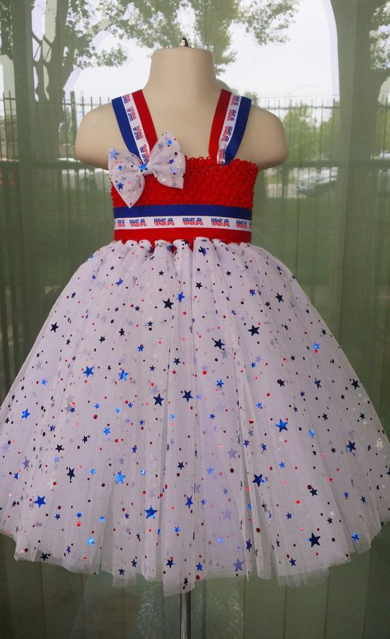 Firecracker tutu dress + hairbow, 4th of July tutu, Red White and Blue tutu dress, Patriotic tutu dress, American flag, stars outfit