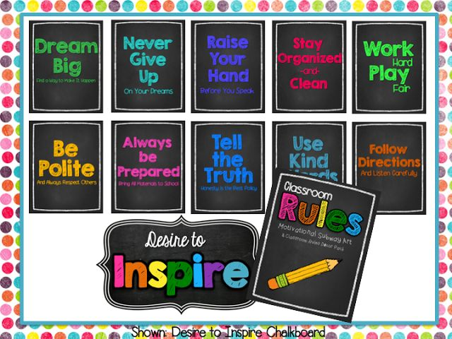 2nd Grade Shenanigans: Desire to Inspire: Chalkboard Brights & Pastels Classroom Rules