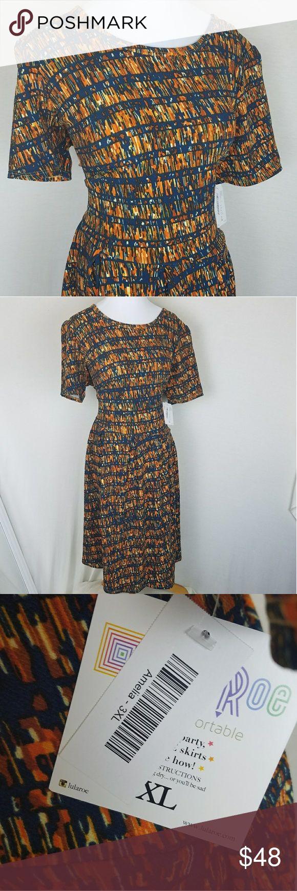 LuLaRoe Amelia Dress Great fall colors! Reminds me of a library. Amelia has a sturdy back zipper,  pleated skirt and pockets.   NWT. From a smoke-free home. I ship daily! LuLaRoe Dresses Midi