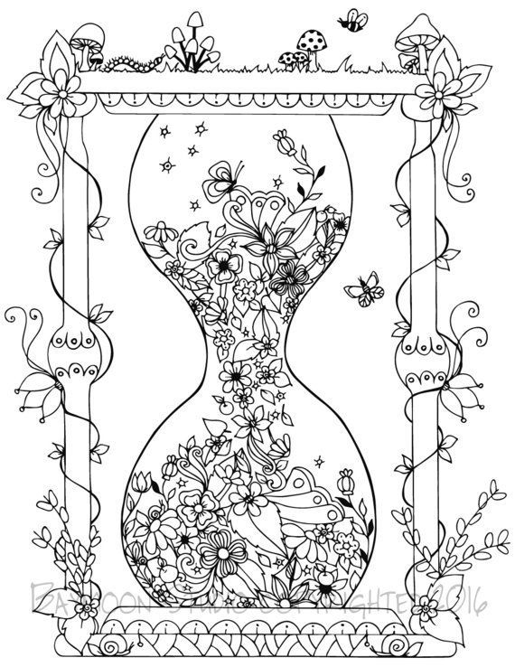 Garden Hourglass Coloring Page, Printable Coloring Pages, Adult Coloring Page