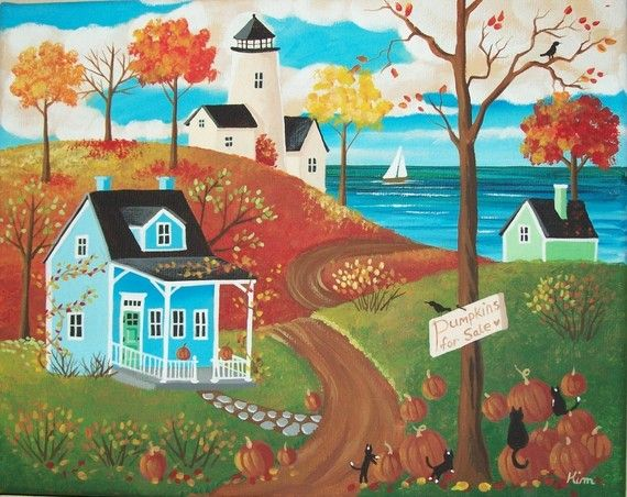 First Day of Autumn Folk Art Print by KimsCottageArt on Etsy, $12.95