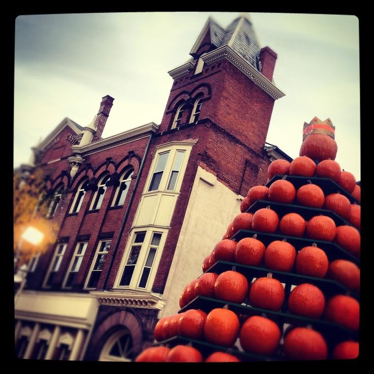 A three story tower of pumpkins at the Circleville Pumpkin Show!