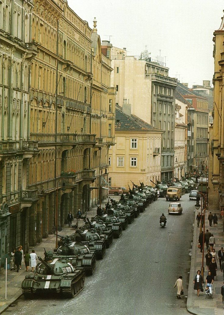 Soviet tanks parked in the streets of Prague Czechoslovakia - Praha (Prague), 1968