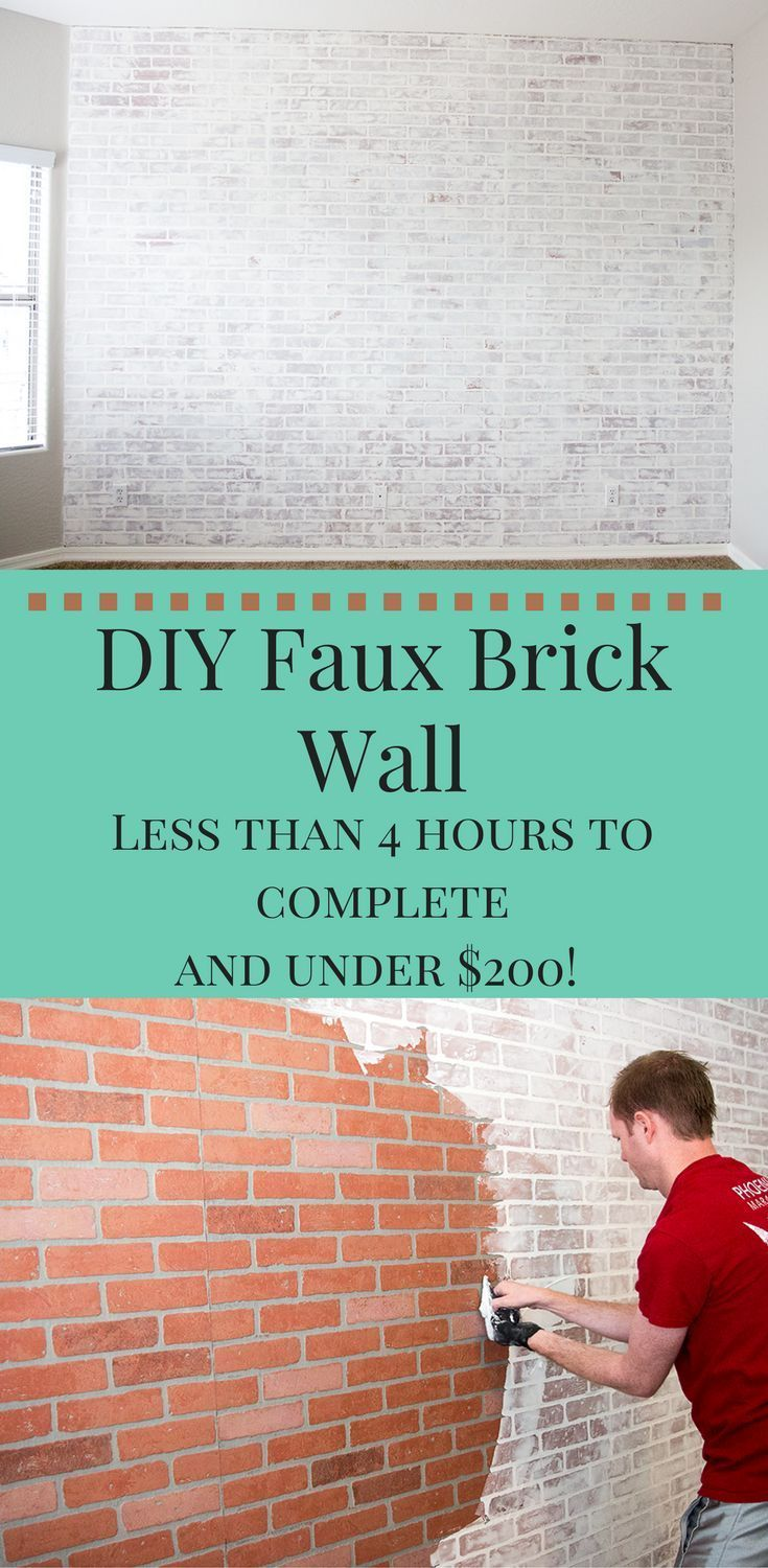 Diy Faux Brick Wall Under 200 Cost And Takes Less Than 4 Hours To Do Diyhomedecorlivingroom Diy Faux Brick Wall Faux Brick Walls Faux Brick