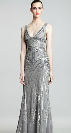 Monique Lhuillier Art Deco Evening Gown----> great as a wedding dress if it were off white or champagne color