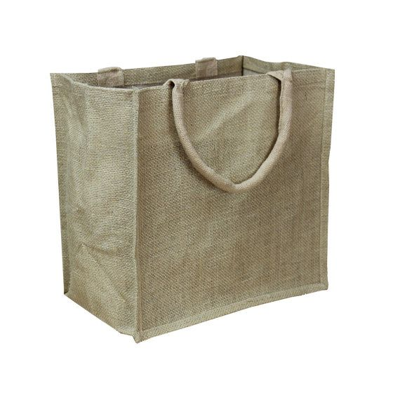 "Natural Burlap Shopping Tote Bags 11"" x 11"" x 6"" - Eco Friendly Burlap Gift Bags, Rustic Wedding Favors, Wholesale Gusset Jute Favor Bags"