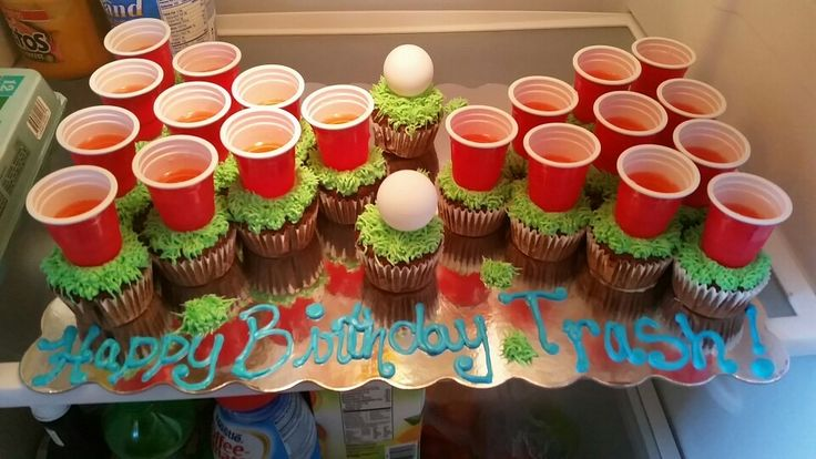 cute beer pong cake and oh so easy to make! cupcakes make life so easy!!!