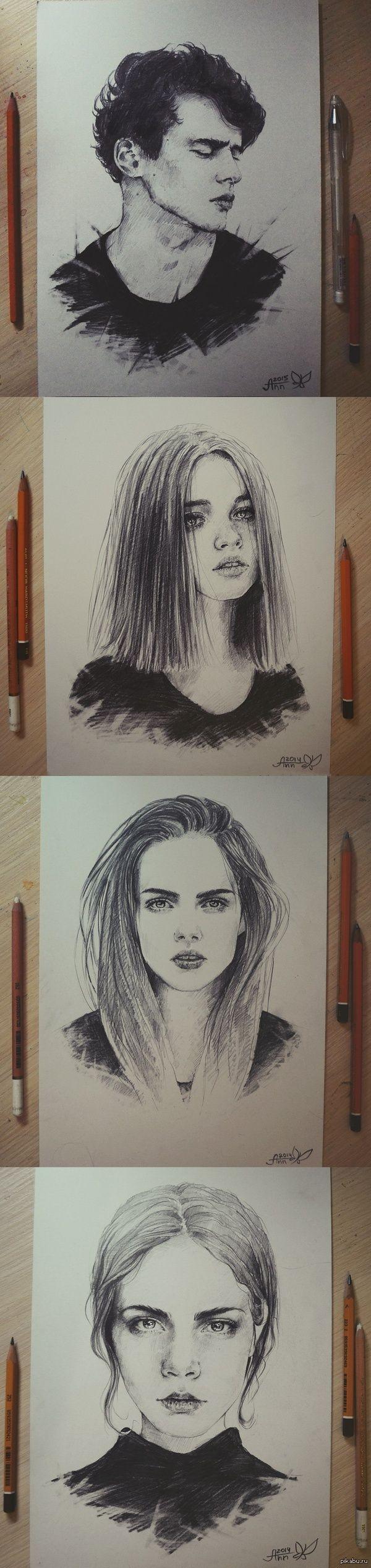 портреты давно я сюда ничего не выкладывала)  графика, арт, девушки, юноша, рисунок, карандаш, самоучка, черно-белое, длиннопост